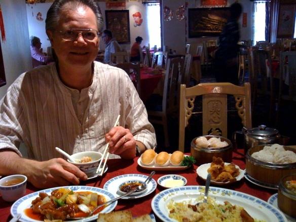Bernard eating Dim Sum